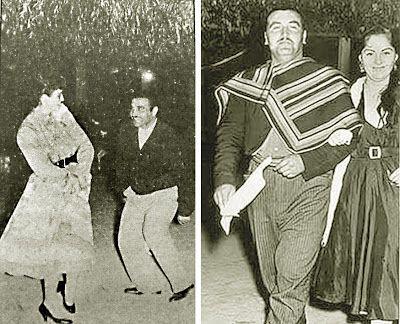 """El célebre Guatón Loyola bailando cueca, una de sus mayores aficiones (Fuente imágenes: a la izquierda """"El Mercurio"""", a la derecha """"La Estrella de Iquique"""")."""