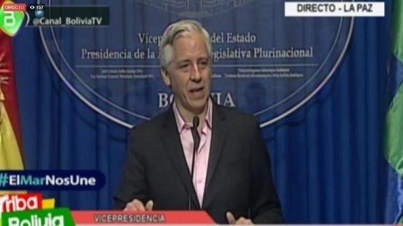 Vicepresidente Álvaro García Linera brinda conferencia de prensa sobre la detención de nueve bolivianos en Tarapacá