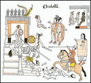 Matanza de indígenas en Cholula a manos de los conquistadores españoles en 1519, representada por  los nativos Tlaxaltecas. Reproducción de 1773 del Lienzo de Tlaxcala original, de 1584